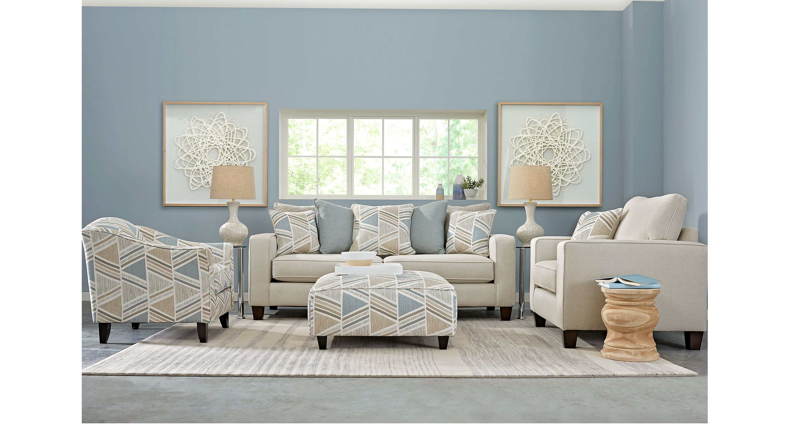 Grayfield Cream 7 Pc Living Room Living Room Sets Beige Living Room Sets Furniture Living Room Suite Grey And Red Living Room #upholstery #living #room #furniture