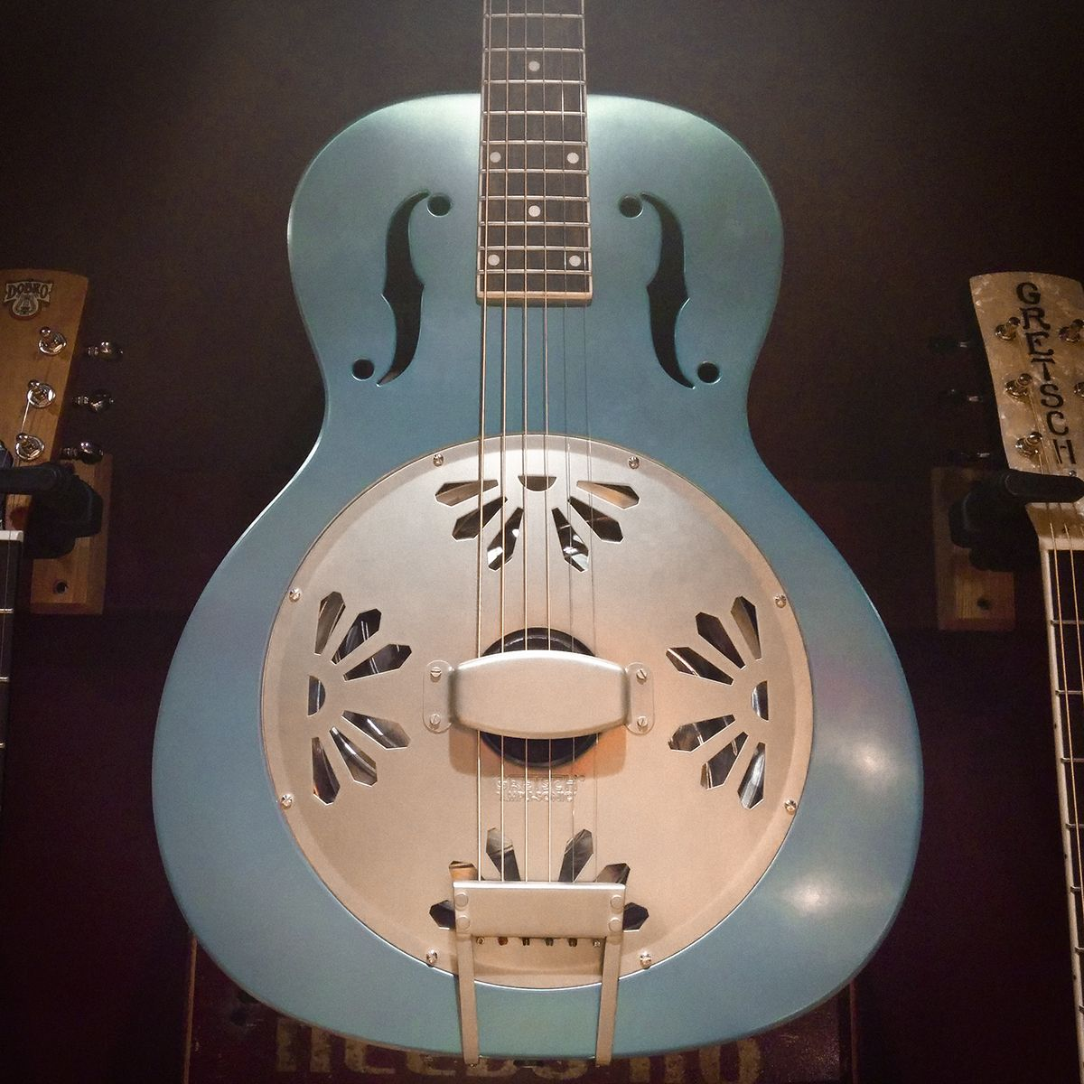 #gretsch G9202 Honey Dipper™ Special round-neck #resonator #guitar #acousticguitar in Daphne Blue with aged white fingerboard binding, screened headstock graphic, all new Ampli-sonic resonator cone and that great Gretsch sound.