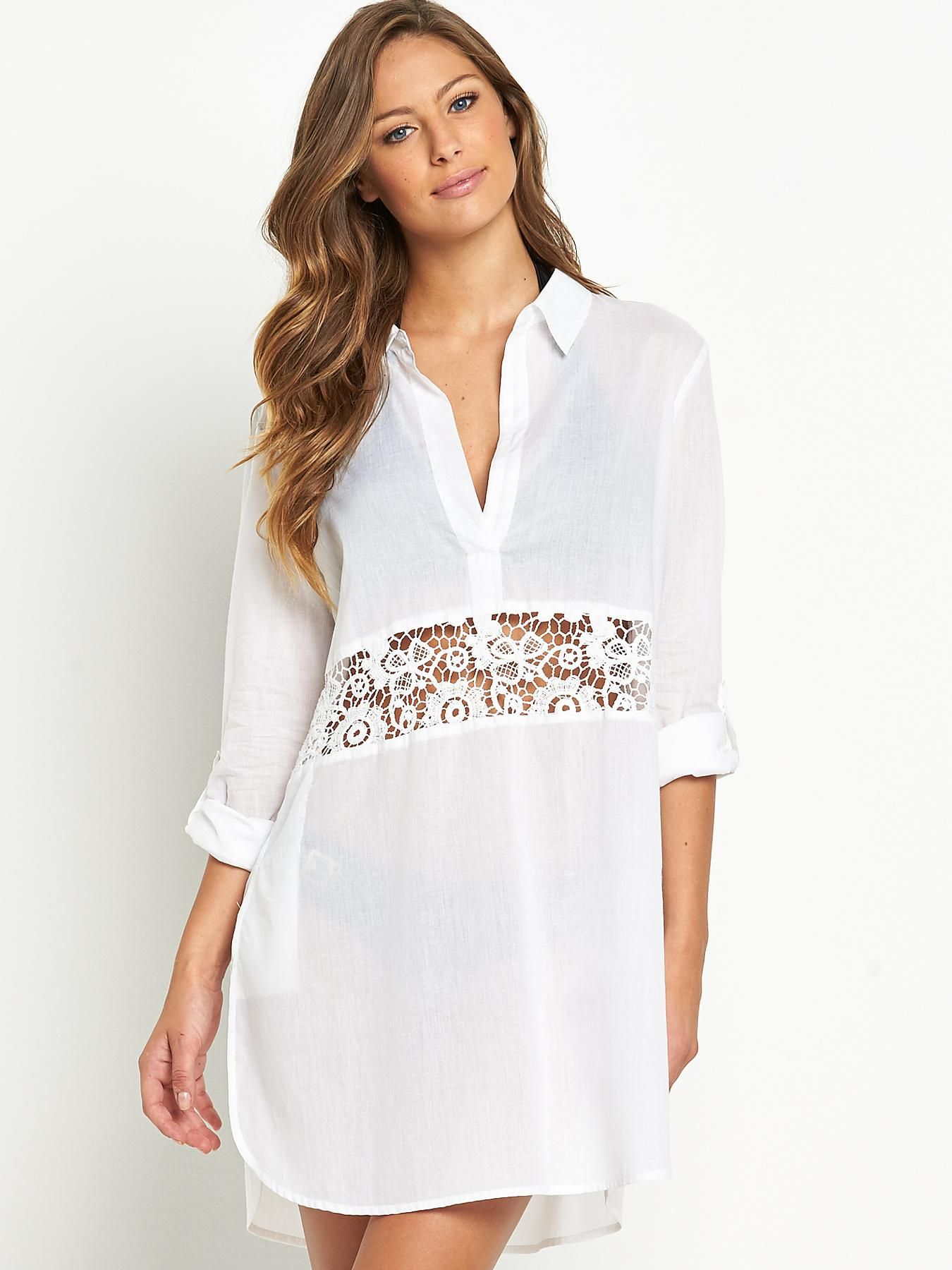 8b8cba9632bf2 Resort Crochet Panel Beach Kaftan Sleek, and sophisticated, this  shirt-inspired…
