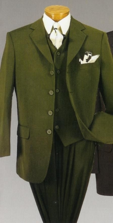 Olive Green Suit High Vest 4 Button Mens Fashion Olive Green
