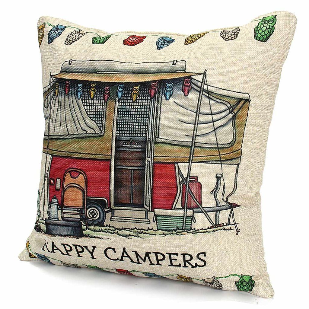 Happy Campers Throw Pillow Cover