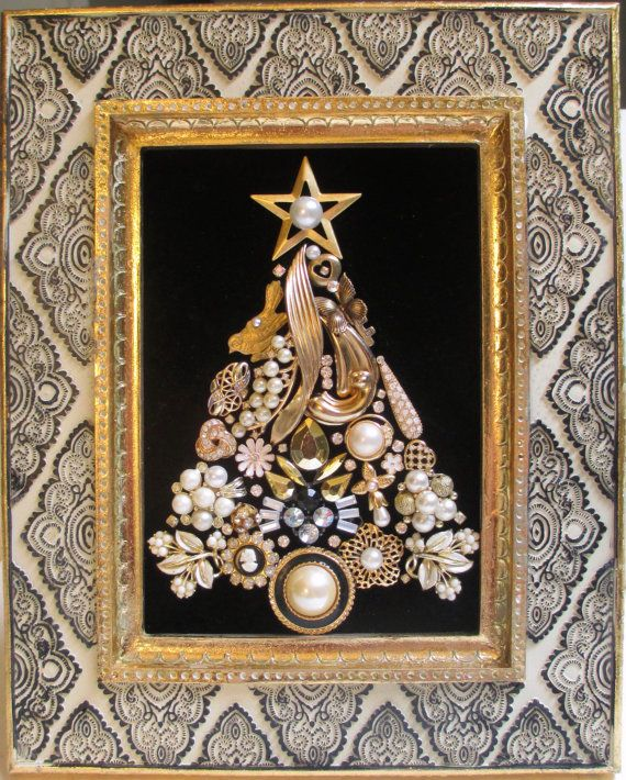 Jeweled Framed Jewelry Christmas Tree Vintage Black by audreymivey