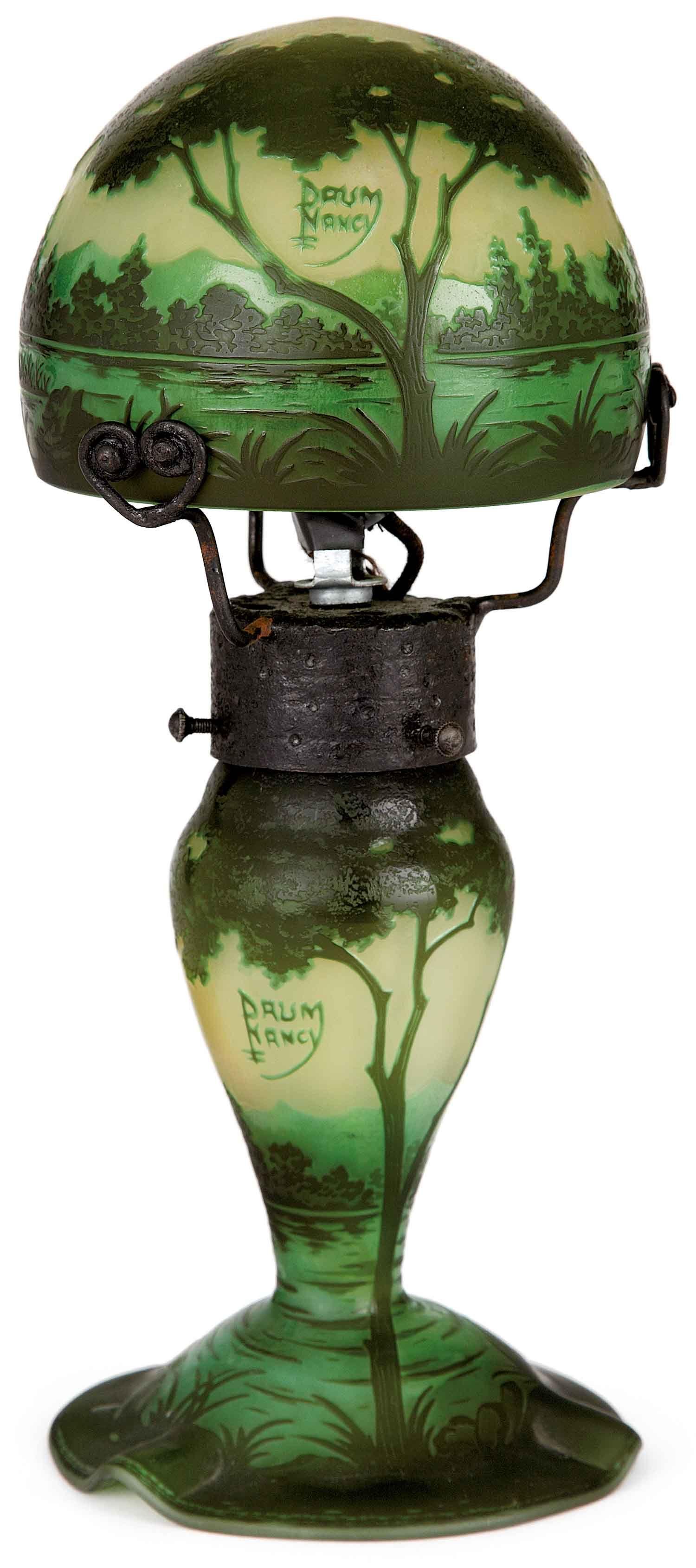 Daum Nancy Petite Lampe Champignon En Verre Multicouche Vert Et