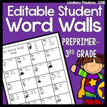 Editable Personal Word Wall Kindergarten Pinterest Words, Word