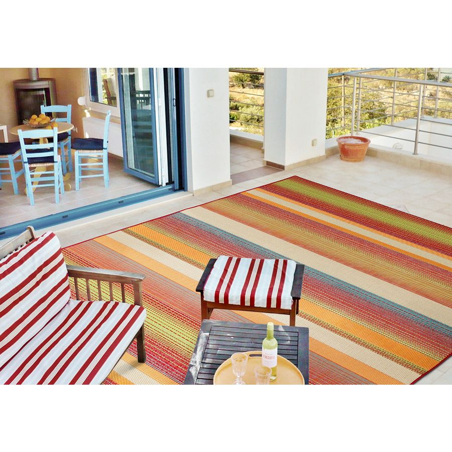 Shop Carpet Art Deco Sunshine Multicolor Rectangular Indoor/Outdoor.  Tropical Area RugsTropical ...