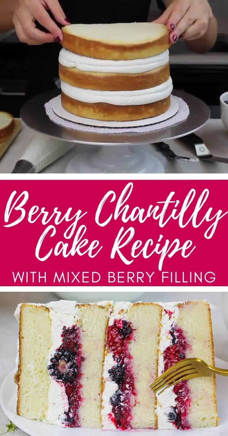 This berry Chantilly cake is made with fluffy white cake layers, silky-smooth mascarpone cream cheese frosting and mixed berry filling! It is absolutely delicious and the perfect berry cake #berrychantillycake #chantillycake #berrychantillycakerecipe