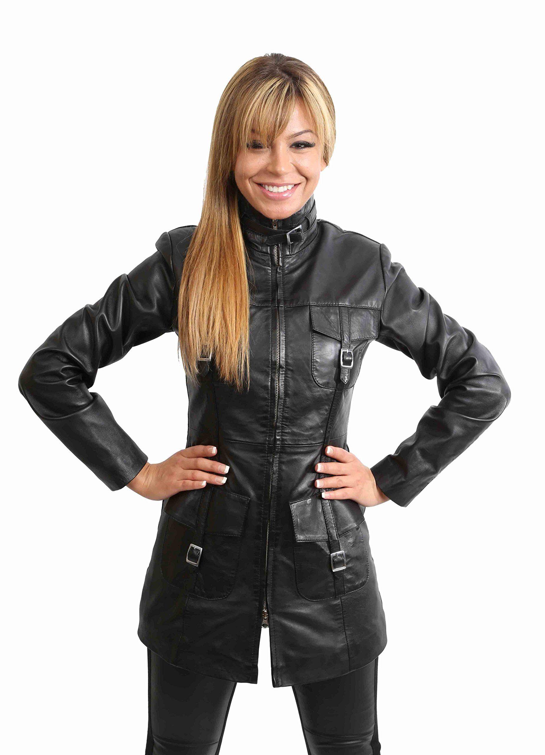 save off 24975 b7023 Damen lange Ledermantel Jacke für Damen 1310 Schwarz: Amazon ...
