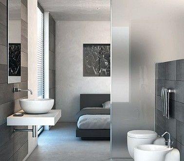 Suite Parentale Grise Moderne A Souhait Banheiros Modernos Projeto Do Banheiro Designs De Quarto