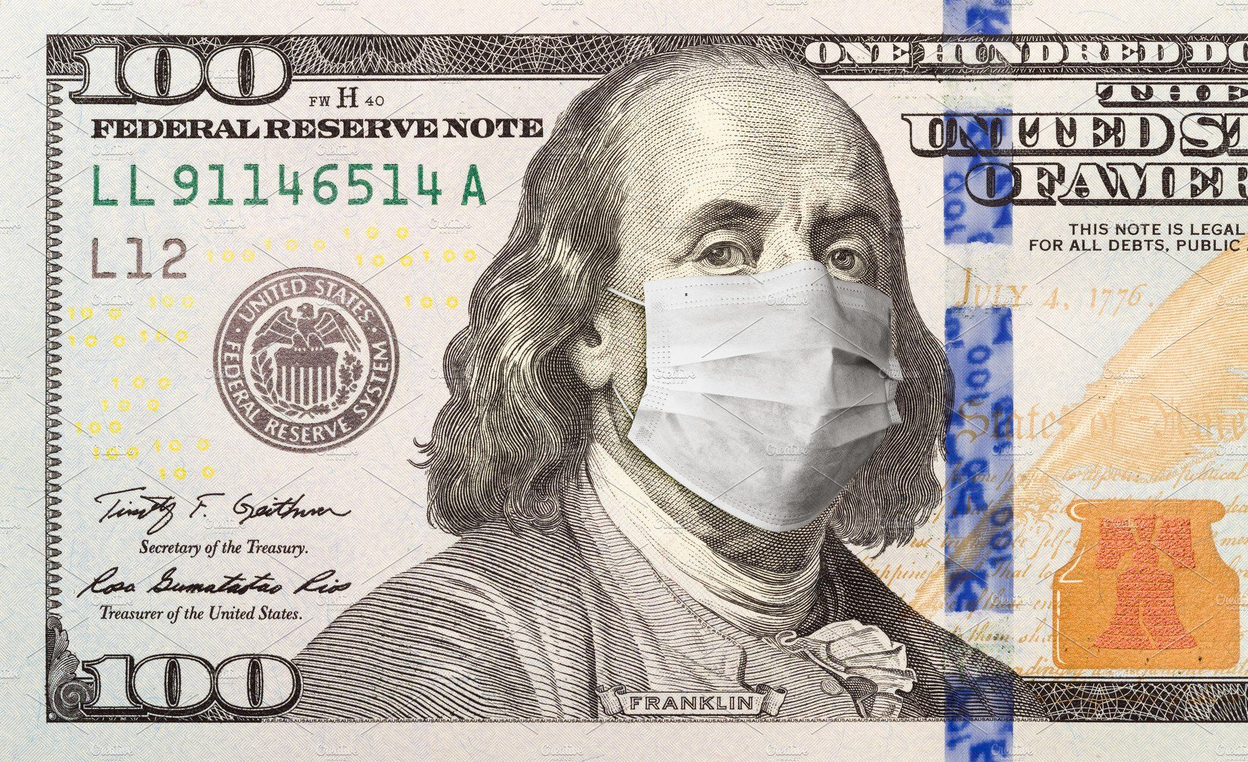 Benjamin In Face Mask 100 Dollars by Andy Dean Photography