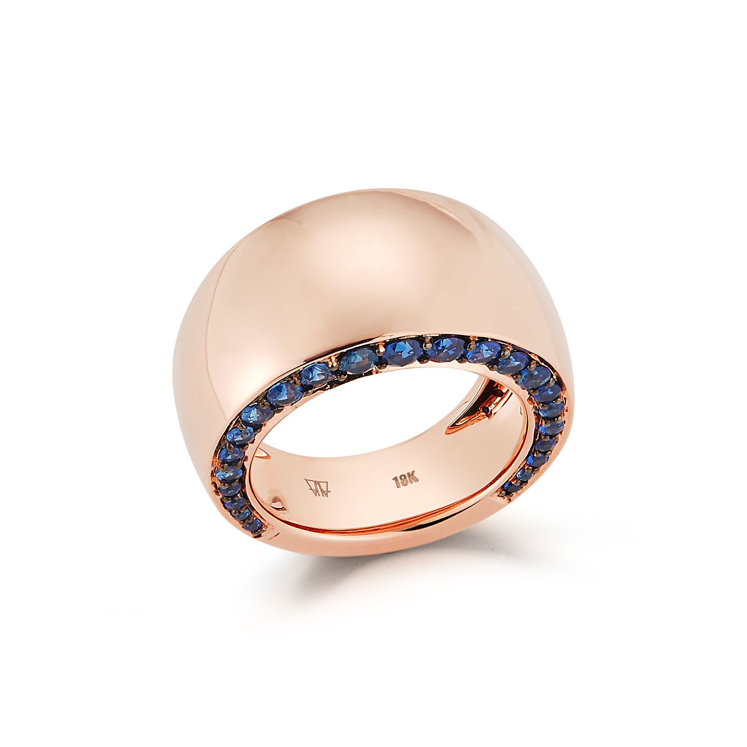 Walters Faith Lytton 18K Rose Gold And Pave Blue Sapphire Wide Ring vWz5aFGM