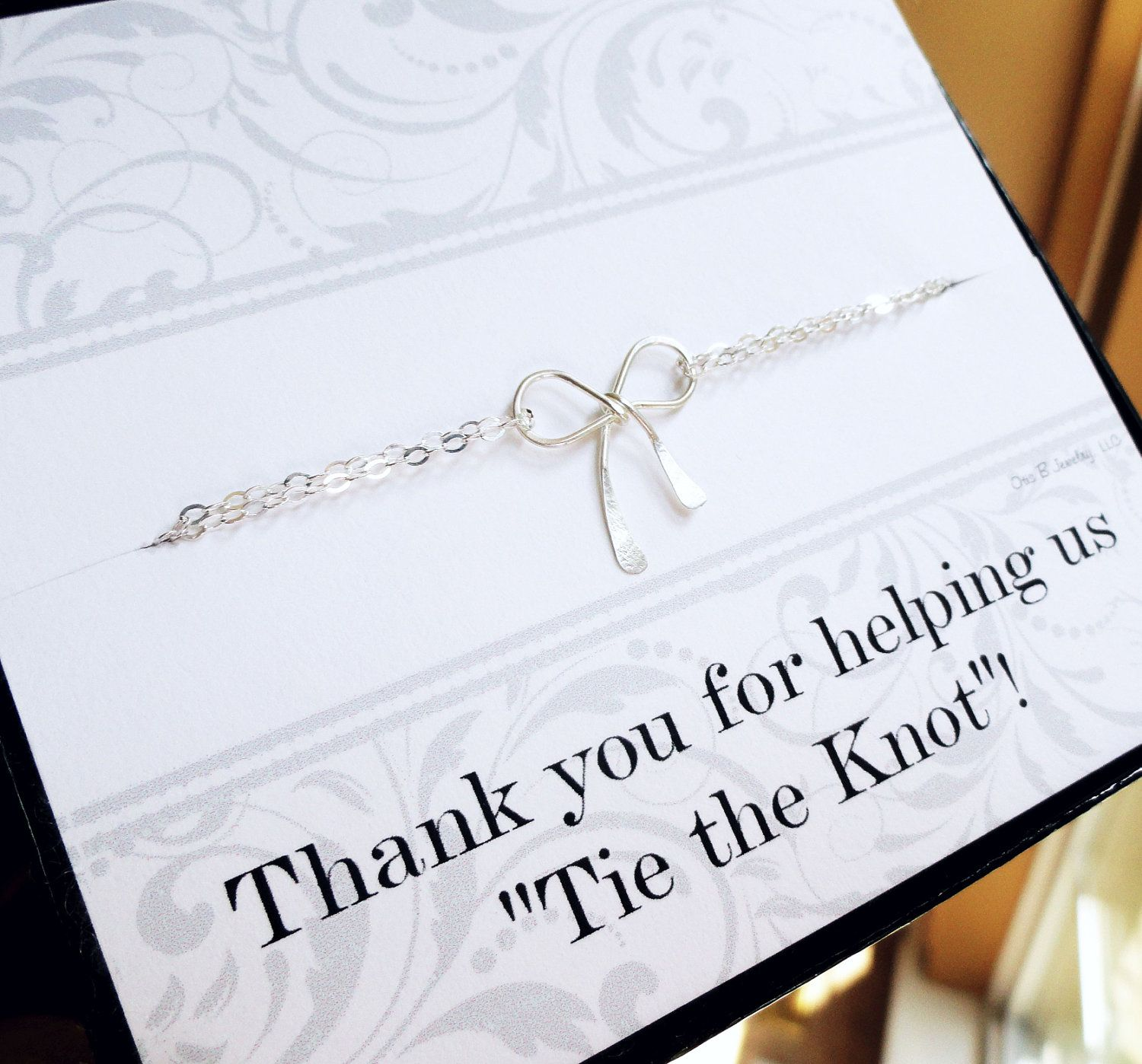 tie the knot wedding invitations etsy%0A Bridesmaid thank you gifts set of FOUR  silver bow charm necklaces with Tie  The Knot