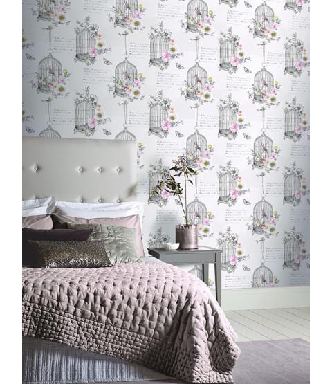 Diamond Birdcage Wallpaper Neutral Arthouse 259700 With Images Birdcage Wallpaper Neutral Wallpaper Home Art