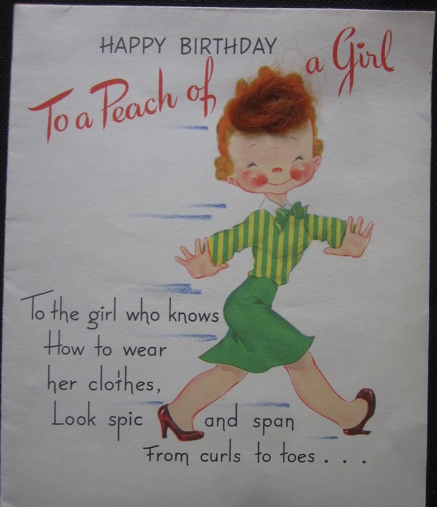Vintage Birthday Greeting Card Walking Girl With Fuzzy Red Hair
