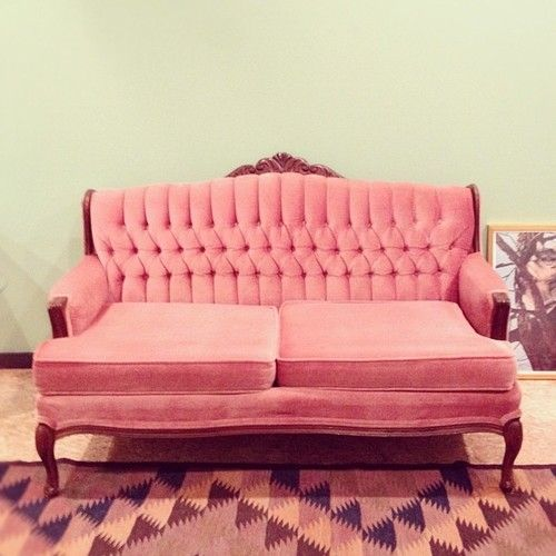RESERVED for AALIYAH Vintage Hollywood Regency Rose Tufted Sofa Pink ...