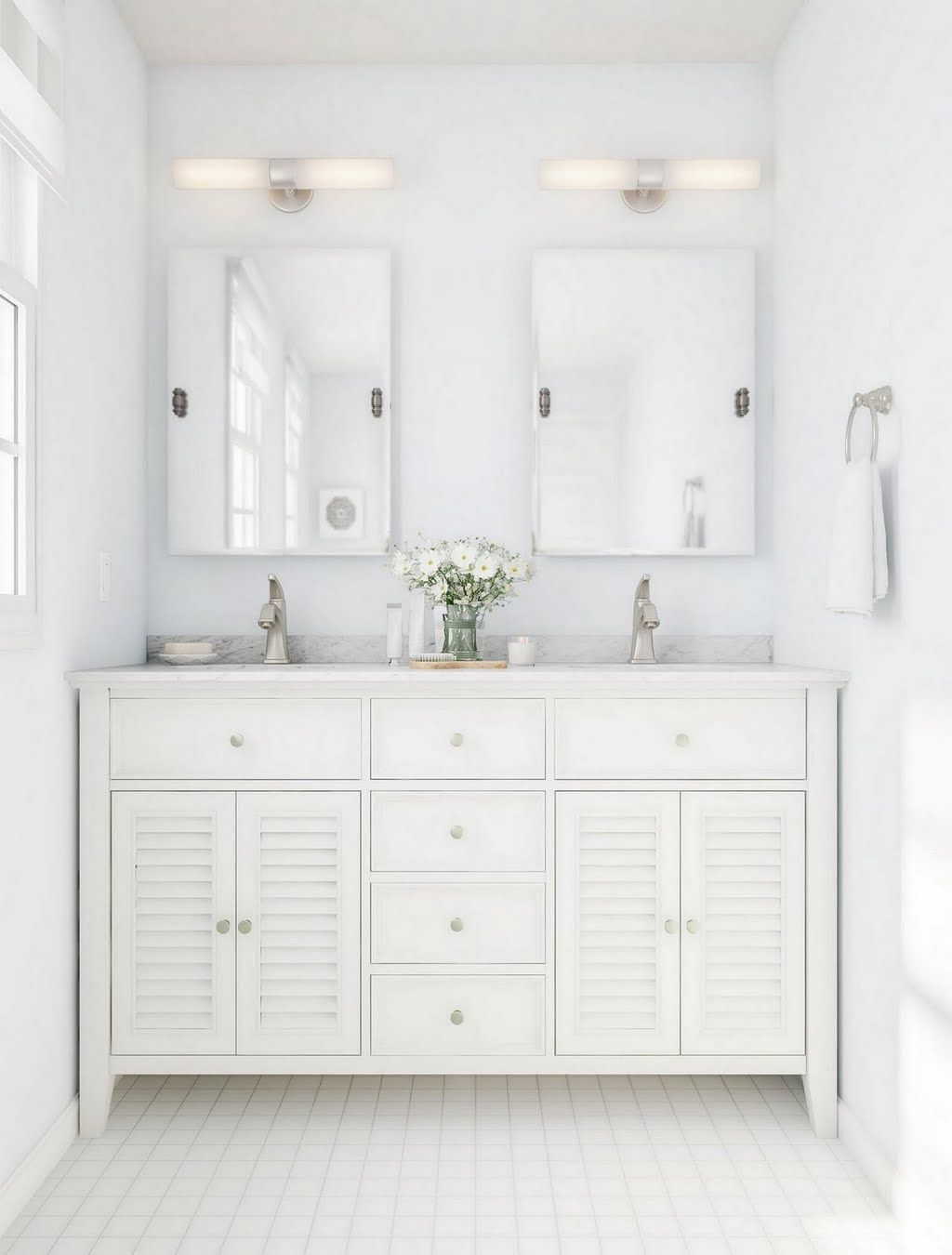 White Cottage Bathroom Vanity The Home Depot
