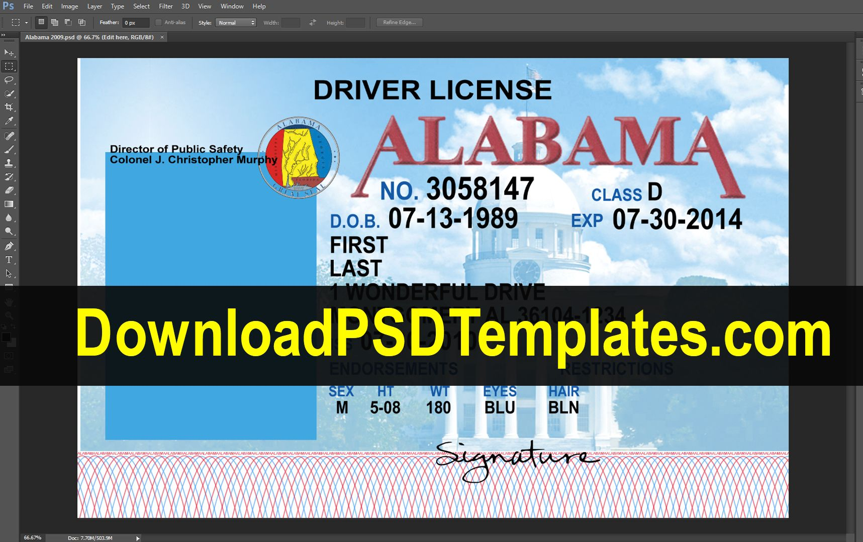 Alabama Driving License Psd Template In 2020 Driving License Id