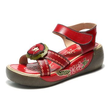 b7a65bdf3ff High-quality SOCOFY Candy Color Hook Loop Leather Retro Platform Sandals -  NewChic Mobile.