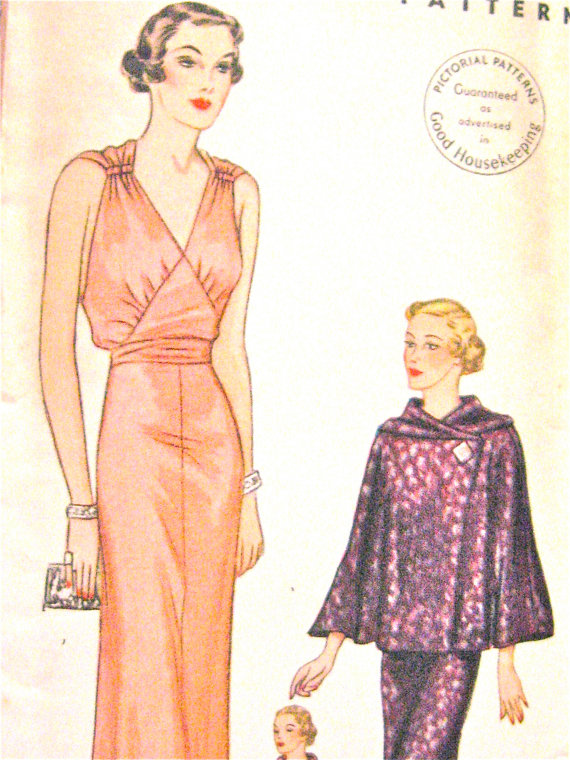 1930s Gown and Evening Wrap Pictorial Printed Pattern 8119 30s ...