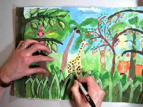Sharpie Follow Up For Henri Rousseau Jungle Painting Mov Kids Art Projects Art Lessons Toucan Art