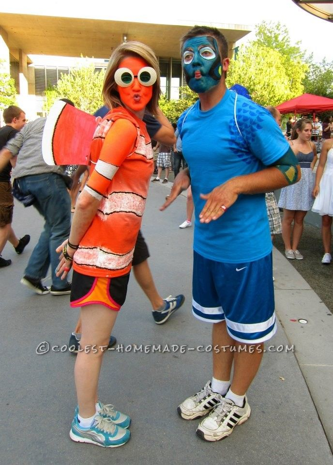 Original Nemo and Dory Couple Costume... This website is the Pinterest of costumes  sc 1 st  Pinterest & Original Nemo and Dory Couple Costume   Coolest Homemade Costumes ...