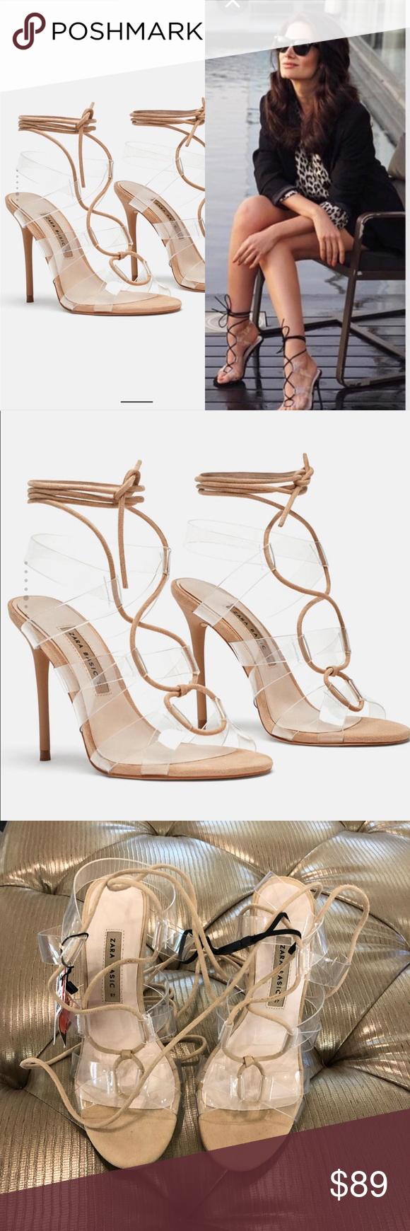 Nwt Zara Heeled Vinyl Tie Sandals Sz 37 In Women Nwt Zara Heeled Vinyl Tie Sandals Sz 37 Beige Heeled Sandal Vinyl Strap D Zara Heels Beige Sandals Heels Zara
