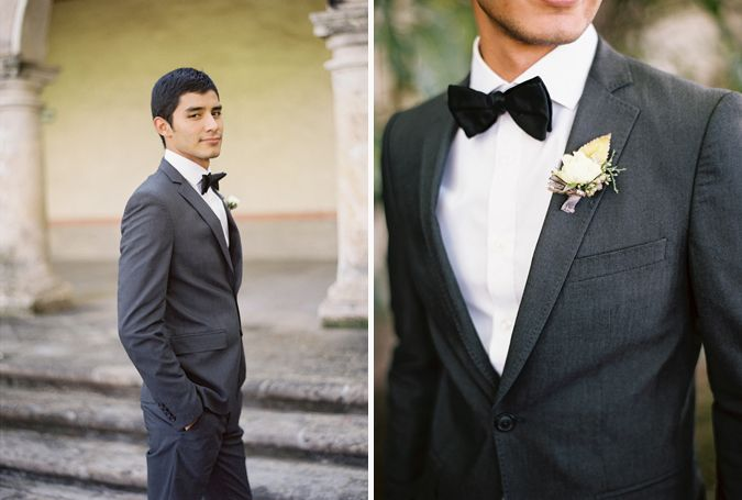 Stylish groom portrait with bowtie | Mexico wedding photography | Weber Photography
