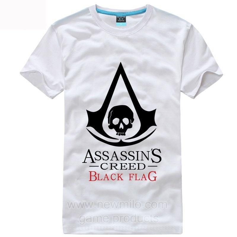 Assassins Creed Black Flag Black skull Short T Shirt www.newmilo.com