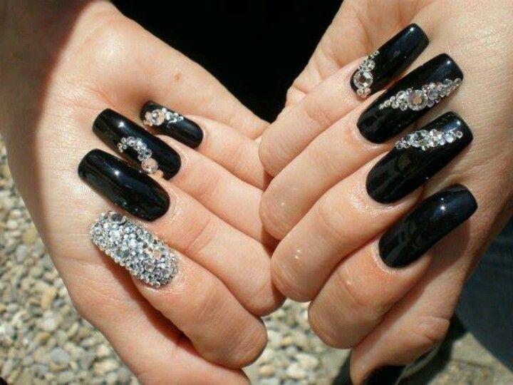 Black Stones Nails Design With Rhinestones Rhinestone Nails Luxury Nails