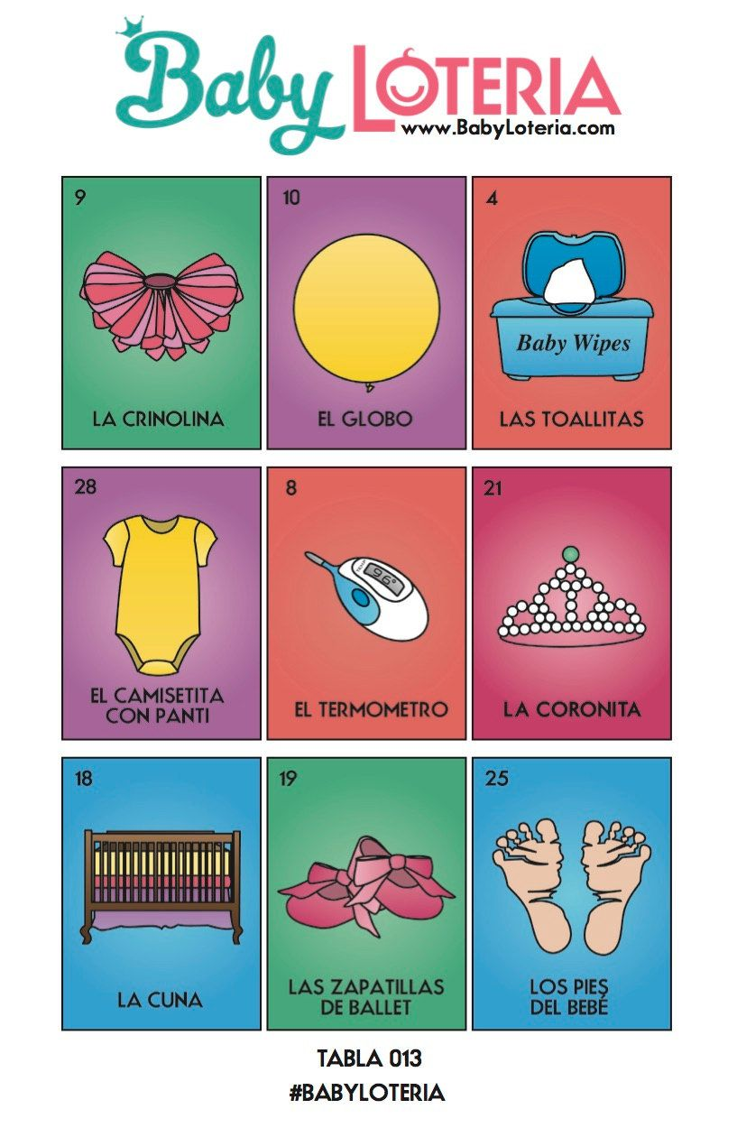 Baby Loteria Spanish Kid Friendly 30 Calling Cards 25 Tablas