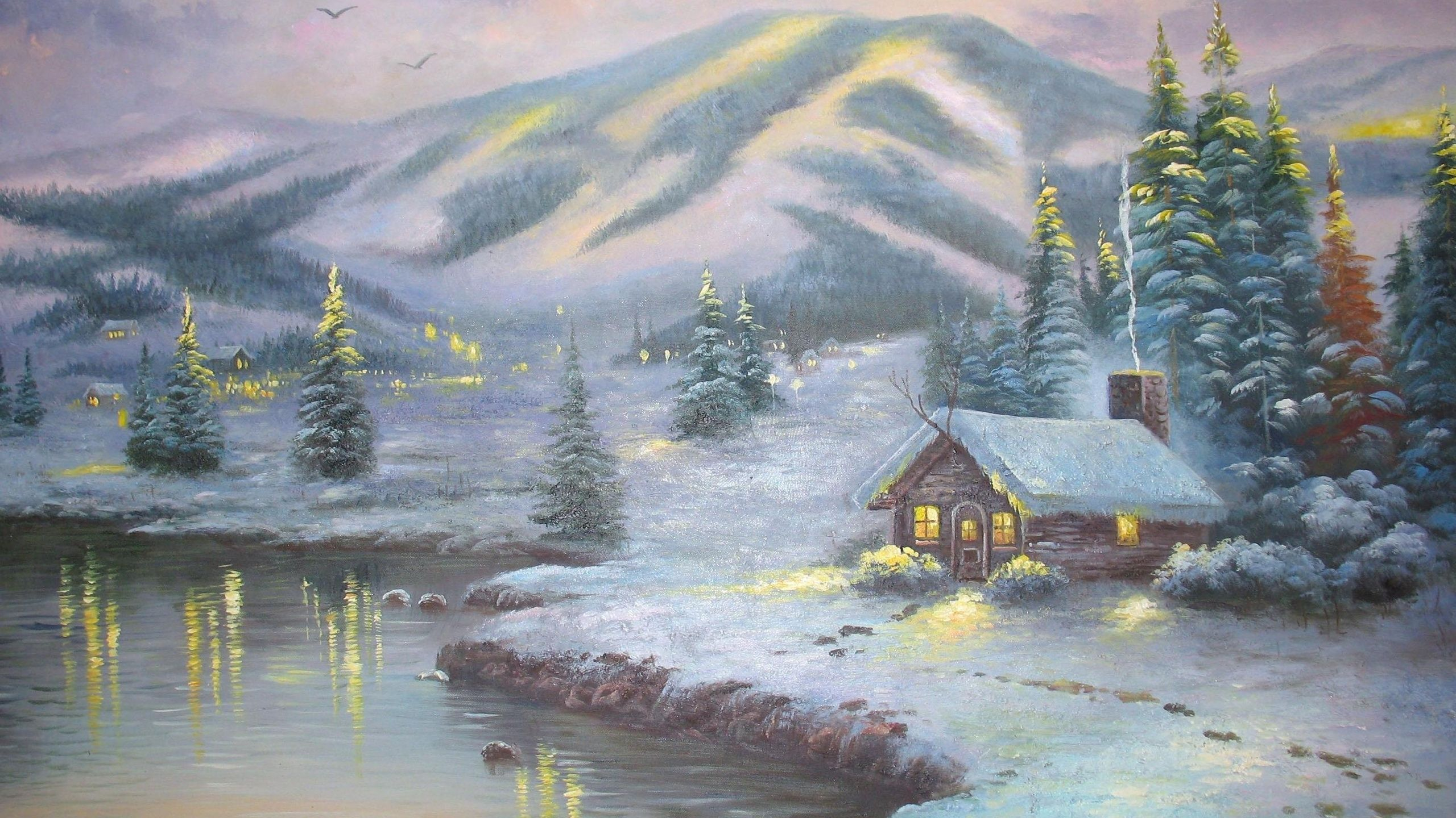 Thomas Kinkade Winter Wallpaper Hintergrundbilder Winter Winterbilder Winterlandschaft