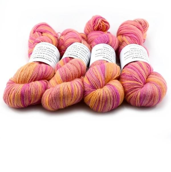 Orange Pink Hand Dyed 4 ply Baby Alpaca Knitting Yarn | Shop Wool Online
