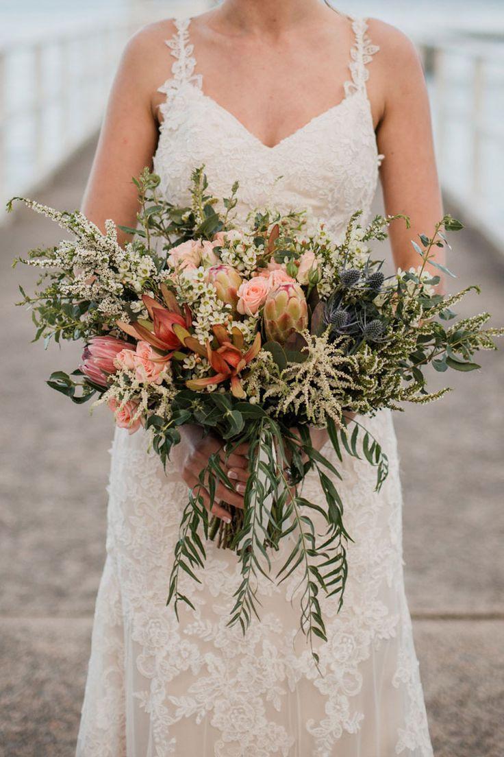 A waterside diy wedding in a neutral palette australian native a waterside diy wedding in a neutral palette protea weddingrustic wedding bouquetswedding flower izmirmasajfo