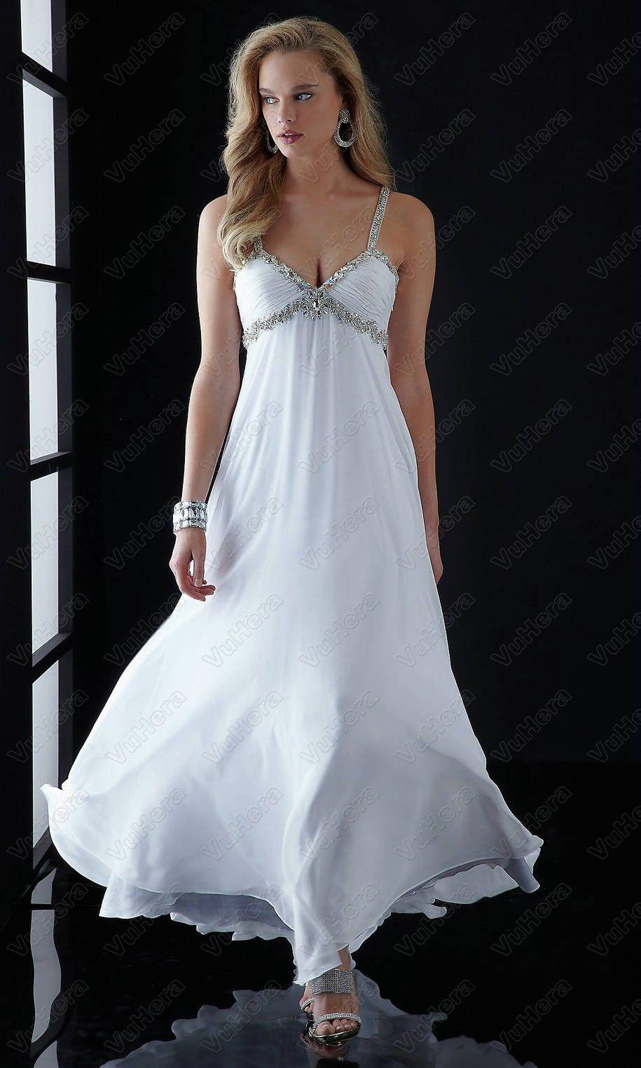 V neck sequin long white prom dress white prom dresses pinterest