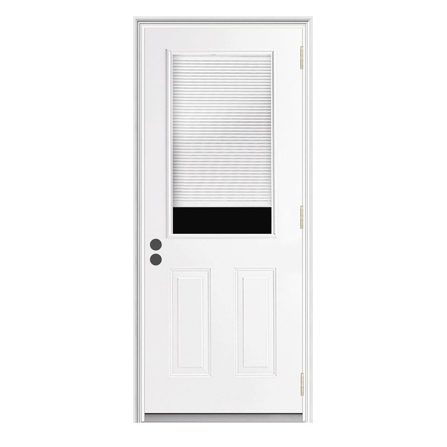 ReliaBilt Insulating Core Half Lite Left Hand Inswing Primed Steel Prehung Entry  Door (Common: X Actual: X