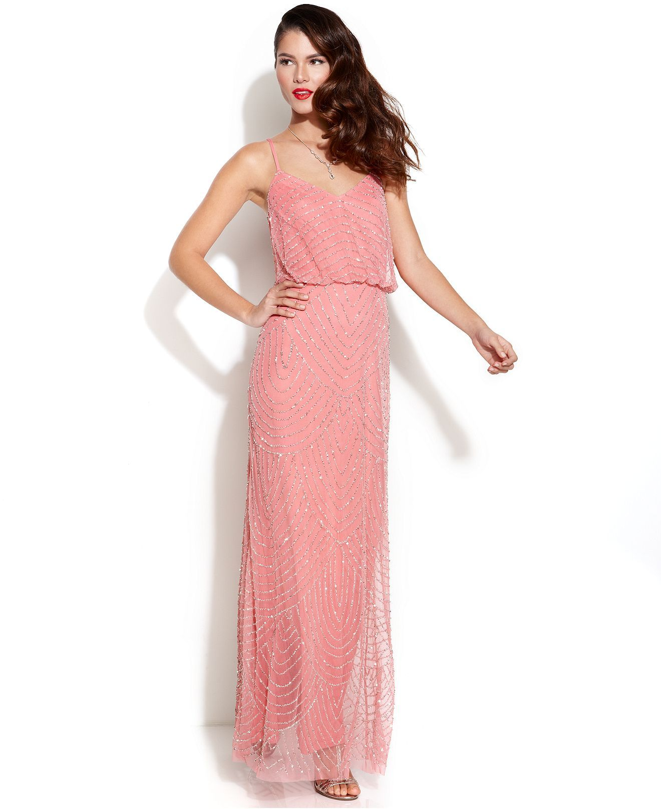 Adrianna Papell Sleeveless Beaded Blouson Gown - Juniors Prom ...