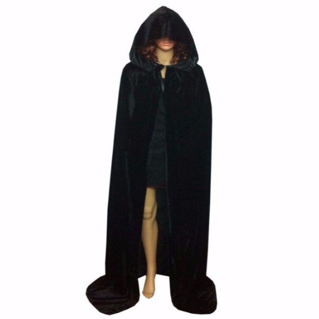Adult Long Black Velvet Hooded Vampire Halloween Cape Fancy Dress Costume Outfit