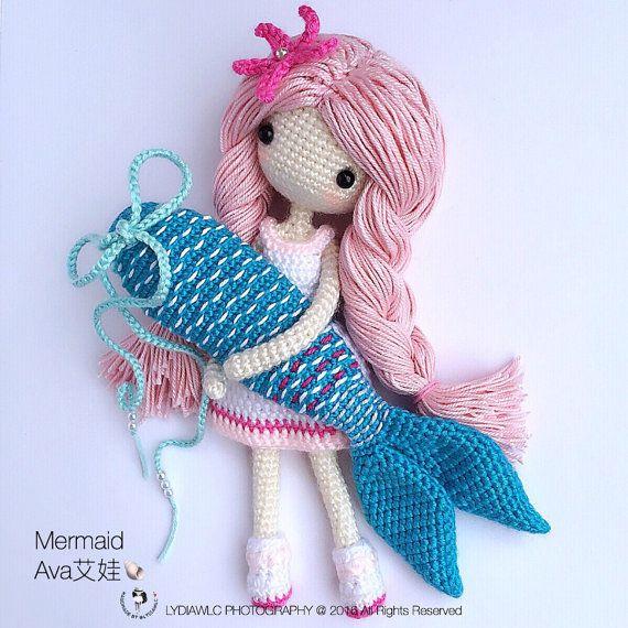English: Crochet Doll Pattern-Mermaid-Ava艾娃. (A crochet doll with ...