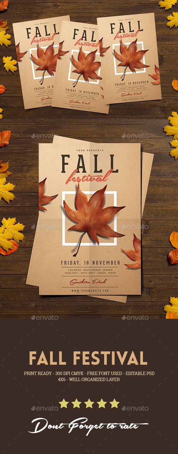 fall festival flyer psd template leaves gathering download