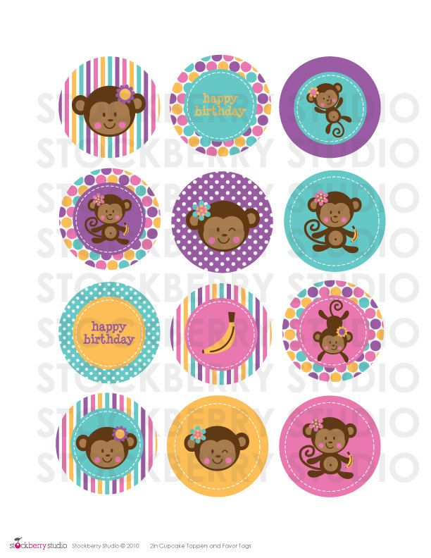 2 inch girl monkey printable cupcake toppers 300 via etsy items similar to sweet birds gift tags no 25 bird gift tags vintage retro style shabby chic song birds sparrow spring time easter gift tags negle Choice Image