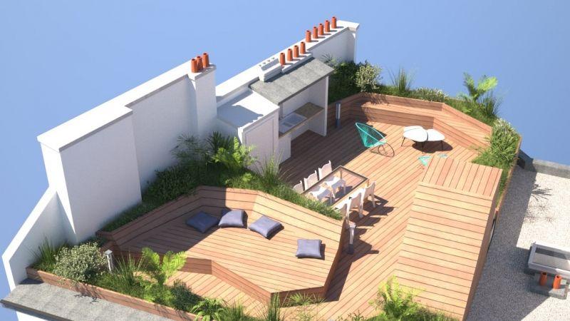 Création d'une terrasse sur le toit d'un immeuble parisien