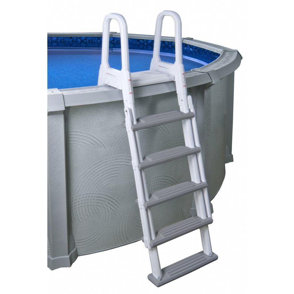Blue Wave Heavy Duty A Frame Ladder For Above Ground Pools Ne1202 The Home Depot Pool Ladder In Ground Pools Above Ground Pool