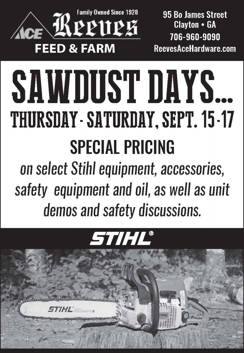 SAWDUST DAYS... THURSDAY SATURDAY, SEPT. 1517 SPECIAL