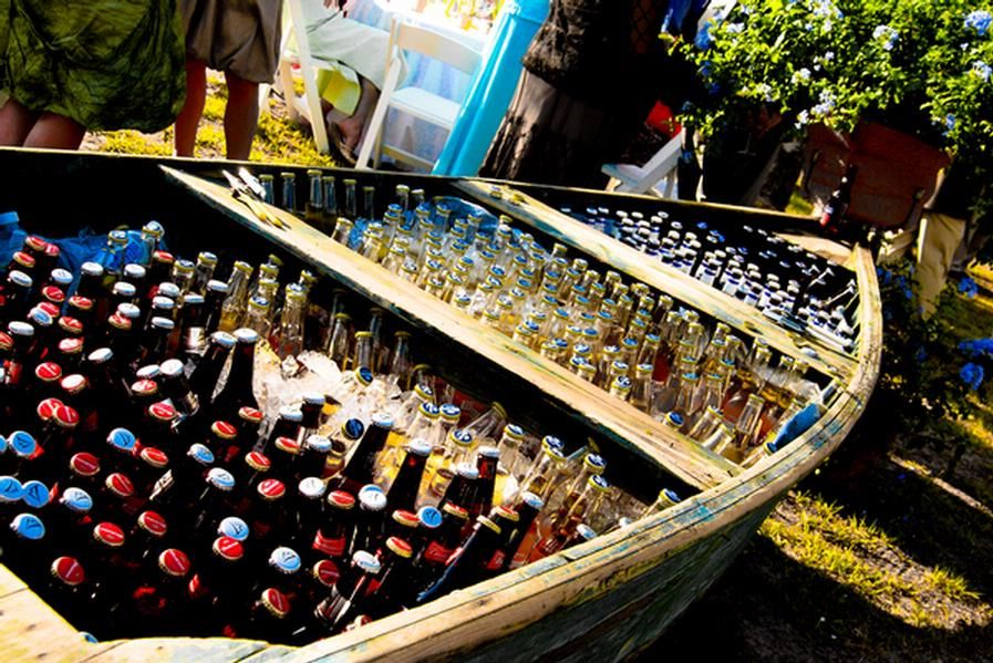 Rustic wedding, boat, beer beverages