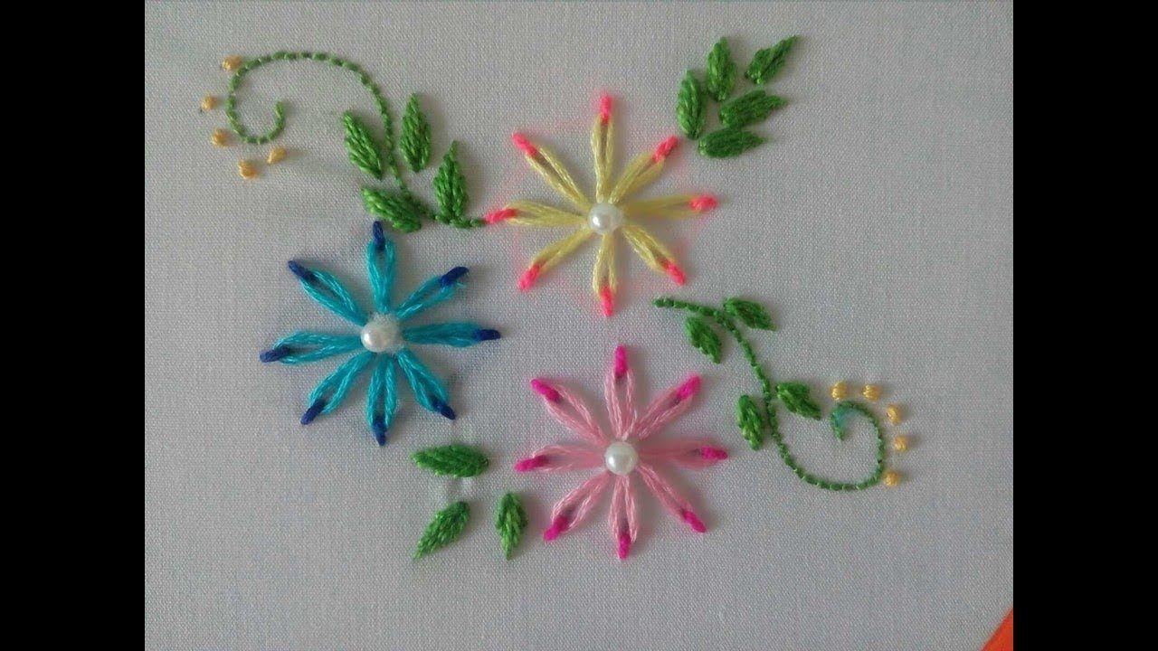 Flores en Puntada Margarita Doble Color|Bordado a Mano | BORDADOS ...