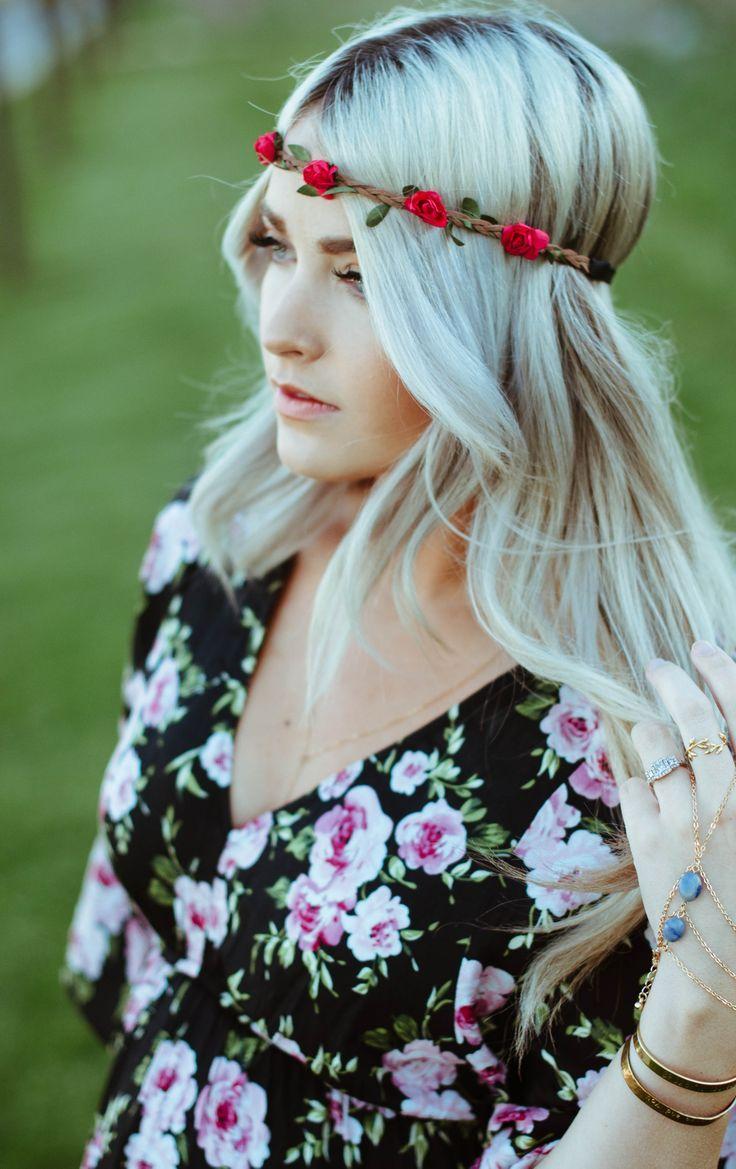 Flowers Flower Crown Romantic Natural Hairstyle Hairdo