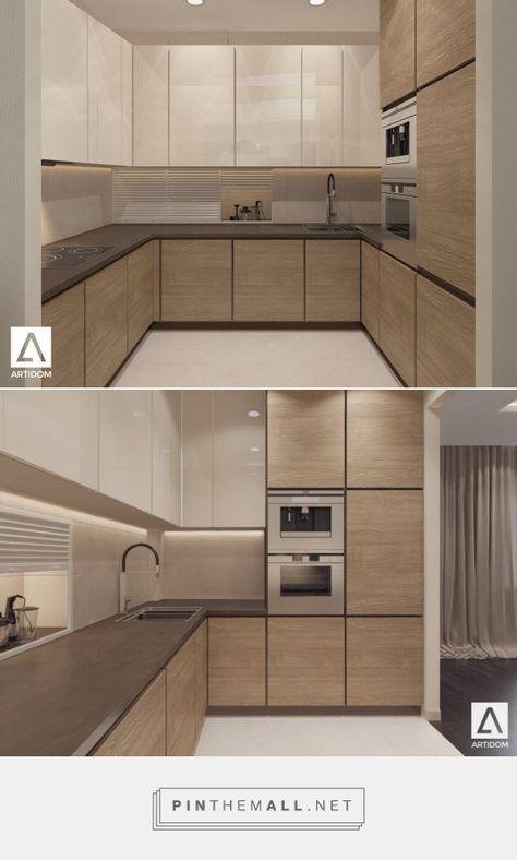 Light kitchen in wood. Beige kitchen. Small modern kitchen ...