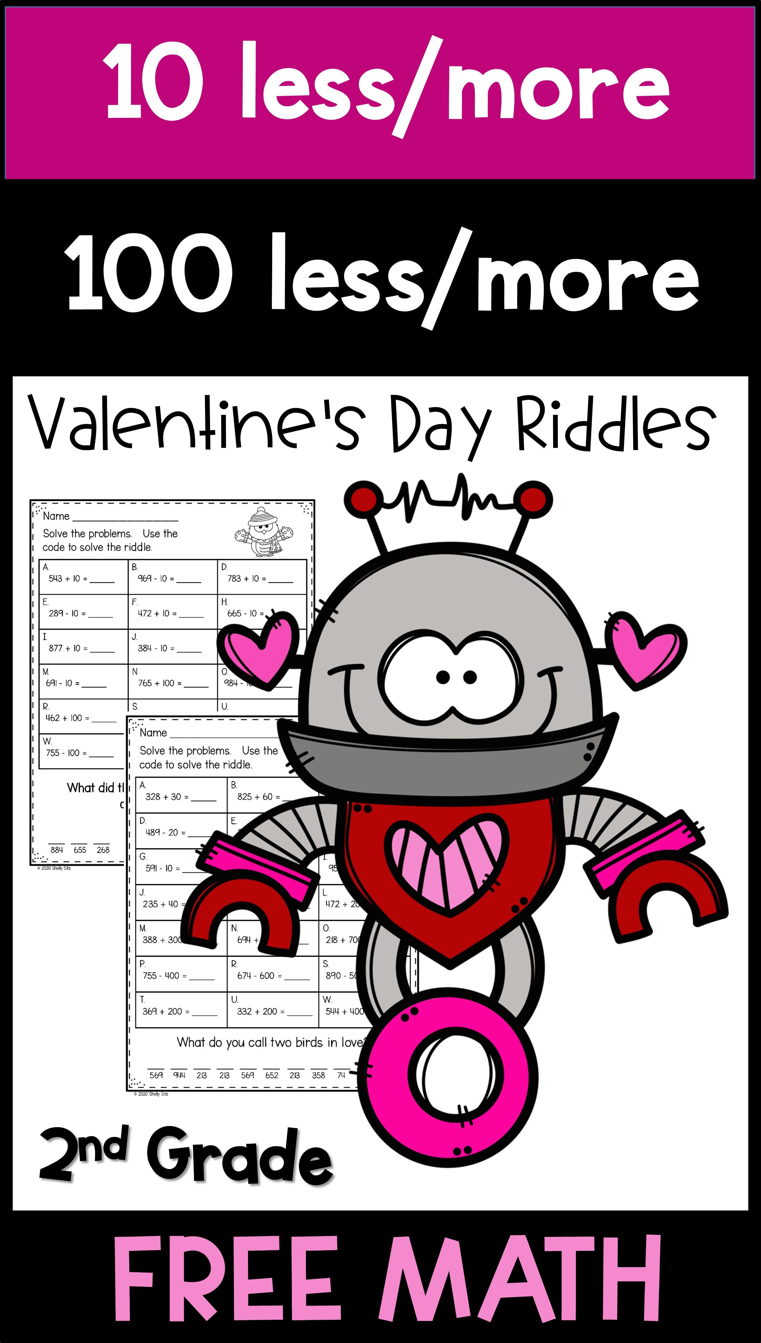 Math Freebie For Second Grade Includes 10 More And 10 Less