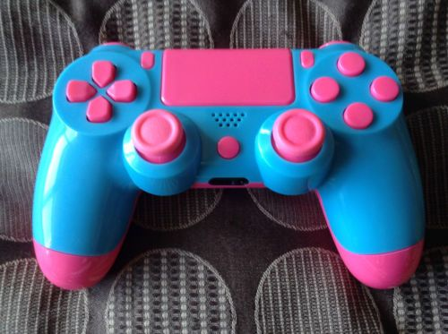 Official Ps4 Controller Modded Customised Blue Pink Shell W Pink Buttons Ps4 Game Console Pink Games Gamer Gifts