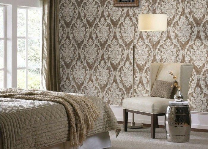 taupe farbe im modernen schlafzimmer mit tollen wandtapeten ...
