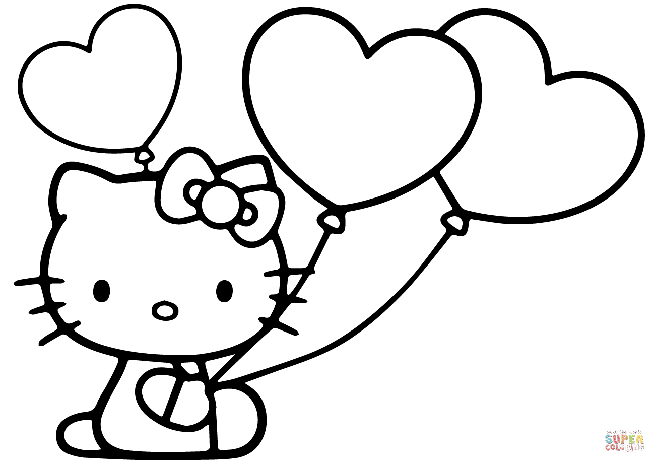 Hello kitty with heart balloons coloring page free printable coloring pages hello kitty colouring pages